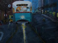 Tramway Montreal akryl painting