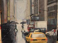 New york taxi rain city akryl