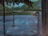 Pige i regnvejr akryl