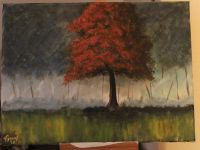 Red tree in forrest acrylic